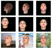 9 tiles of generated faces at different angles