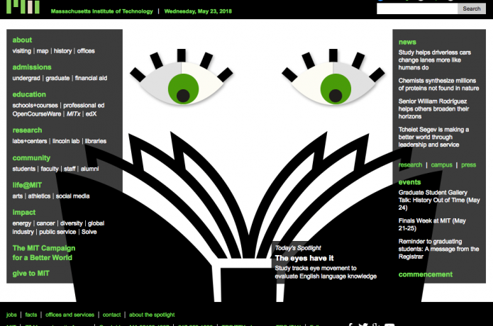 Screenshot of MIT News cover page