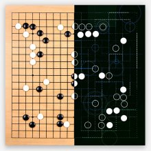 An illustration (pictured) shows a traditional Go board and half showing computer-calculated moves. Image credit Google