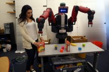 """ComText allows robots to understand contextual commands such as, """"Pick up the box I put down.""""  Photo: Tom Buehler/MIT CSAIL"""