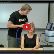 """Watch Nancy's Brain get Zapped with TMS"" This video demonstrates Transcranial Magnetic Stimulation, with Prof. Kanwisher as the subject."