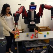 "ComText allows robots to understand contextual commands such as, ""Pick up the box I put down.""  Photo: Tom Buehler/MIT CSAIL"