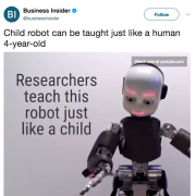 """researches teach this robot just like a child"""