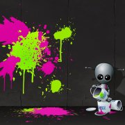 Image of a robot splashing paint onto a wall.