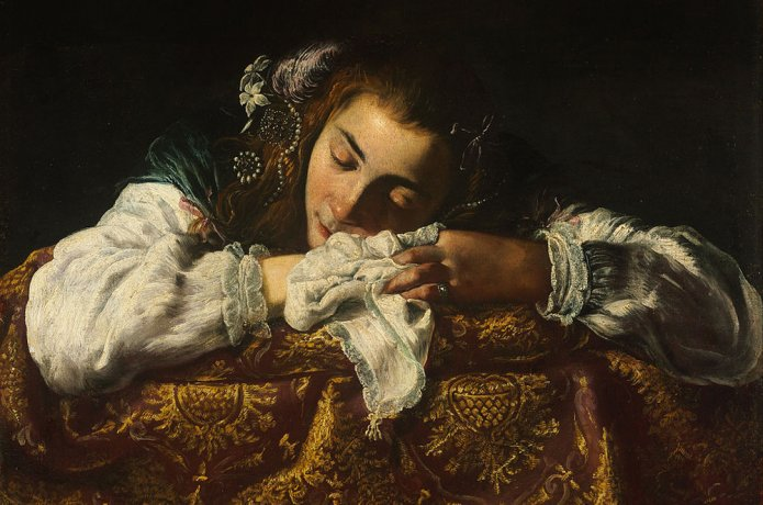 Painting of a sleeping girl.