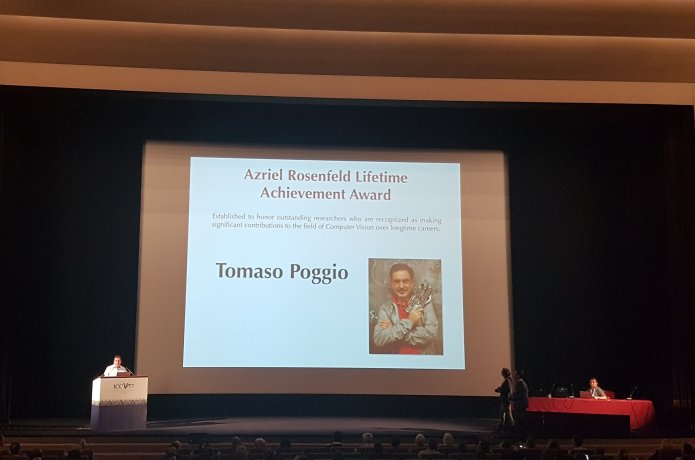 Photo of award presentation at ICCV 2017, Venice Italy