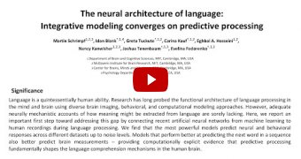 Embedded thumbnail for The neural architecture of language: Integrative modeling converges on predictive processing [video]