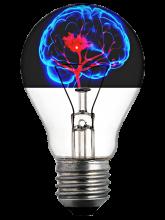 lightbulb with a brain inside