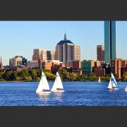 Photo of sailboats on the Charles River.