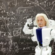 Einstein robot at chalkboard with equations
